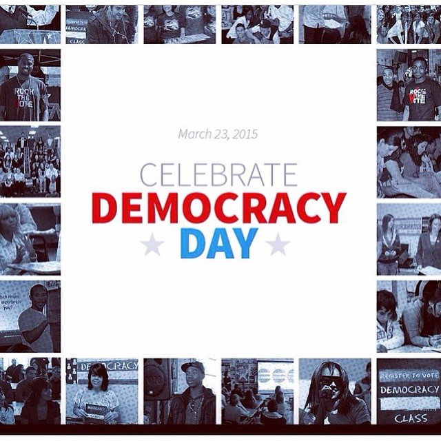 Today is #democracyday2015 celebrating young people's role in our democracy. #rockthevote #bethechange #registertovote #getstoked