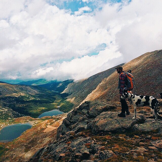 This is @julian.zarate on Mt. Evans with his wonderful dane. Some would even call it great. #PacksElevated #colorado #outdoors #greatdane