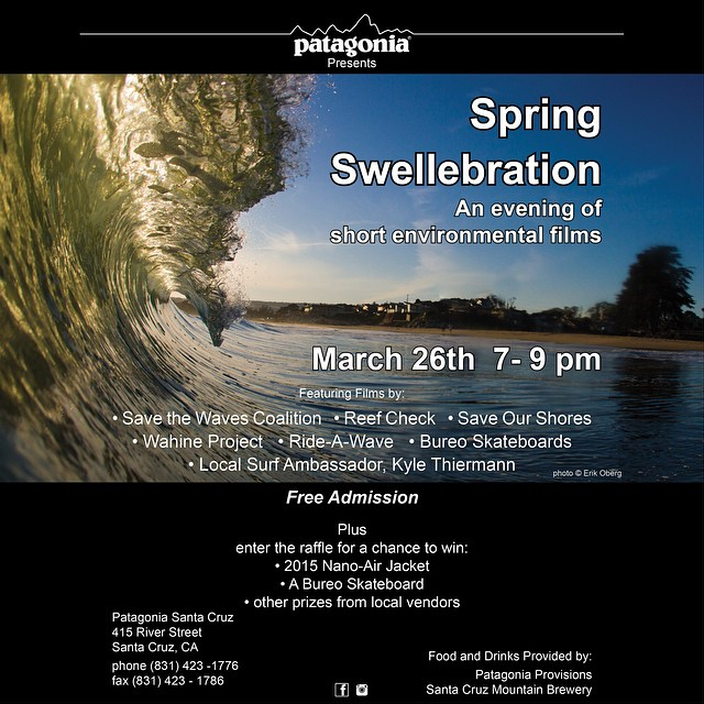 It's a Swellabration! We are headed up north to join @patagoniasantacruz for an evening of environmental films made by a solid crew of ocean warriors. Food and beverages from the good people @patagoniaprovisions and @scmbrew. Free admission!