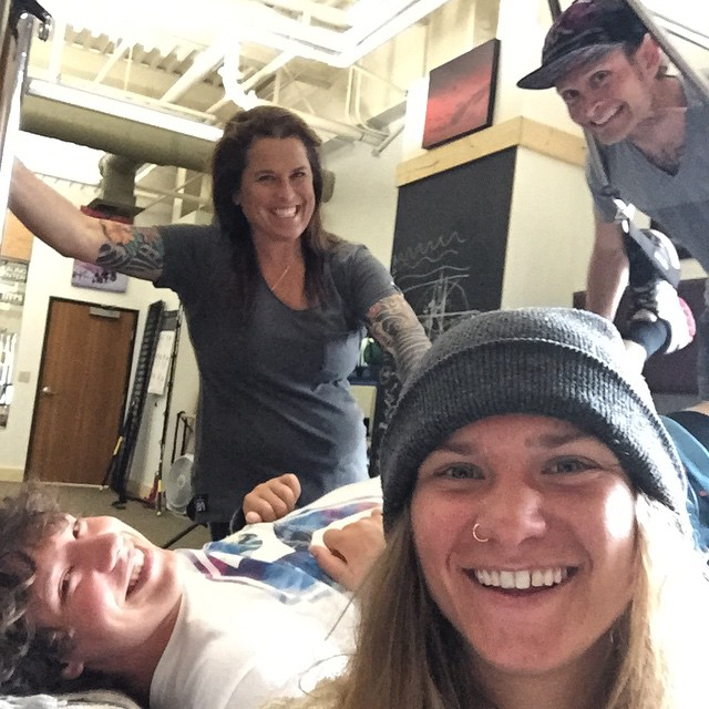 The @crj_healingctr [Program Service of the #HighFivesFoundation] is going off today! Making progress and having too much fun working out with Jeff Andrews and the gang on the #BalancedBodyCadillac @skinorthstar #NorthstarGives #EpicPromise...