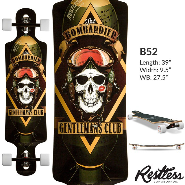 "The 2015 Restless lineup leak continues with the #7: B52. 9.5"" x 39"" twin-tip Freeride boards with radial drop, drop-through and kicks. Made for Fast Freeride and DH but also an amazing cruiser. #restless2015leak"
