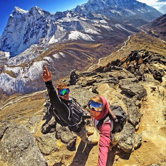 @johnditomaso and @caden_shea stoked on the view of Mount Ama Dablam in Dingboche, Nepal. #gopro #gopole #gopolereach #hiking