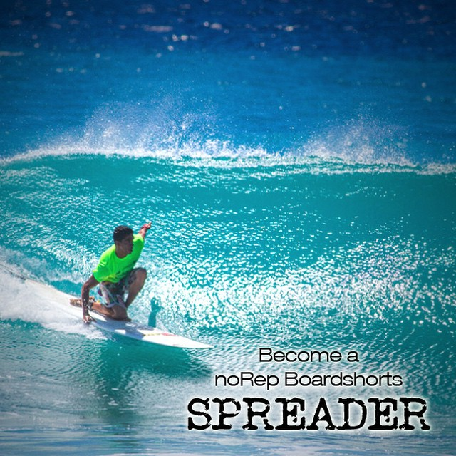 Take a stand. Be an noRep Spreader.  What inspires you?  We're inspired by surfing, art and being activists for great causes. We support artists like Sean Davey and Drew Toonz. We get behind causes like Evict Monsanto or Breast Cancer Awareness.  Help...