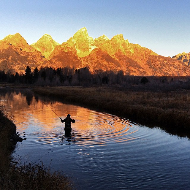 Alpine starts are always worth it. #flyfishing the Snake in the #tetons Fall 2014. #GoingOutIsGoingIn