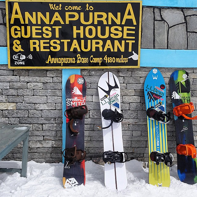 @sethwescott and I brought a quiver to shred the Himalayas. You never know. @burtonsnowboards @wintersticksnowboards @llbean @warrenmillerent #avalon7 #nepal