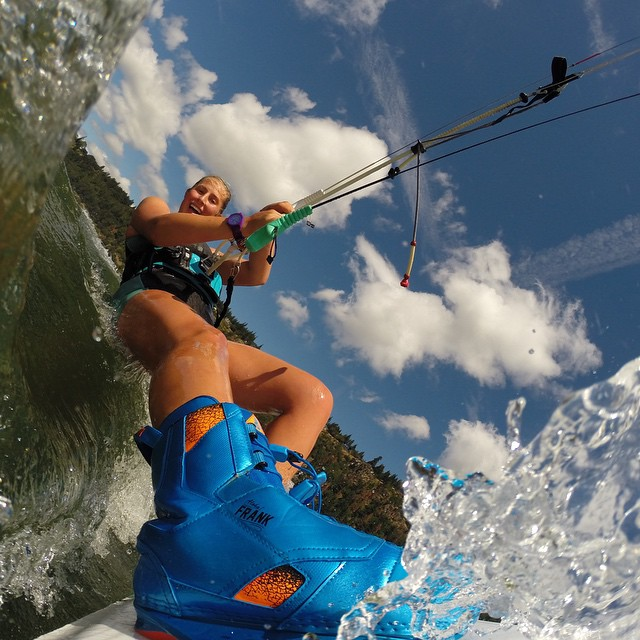 "Photo of the Day! @briannahirsch says, ""In bliss carving through the water."" #GoPro #GoProGirl #Kiteboard"