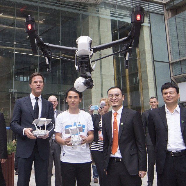 From handheld to #aerial. Dutch Prime Minister Mr. Mark Rutte tries his hand with the #DJI #inspire1 when visiting the headquarters today.  We wonder if he did a #dronie with CEO and founder Mr. Frank Wang while trying it out...
