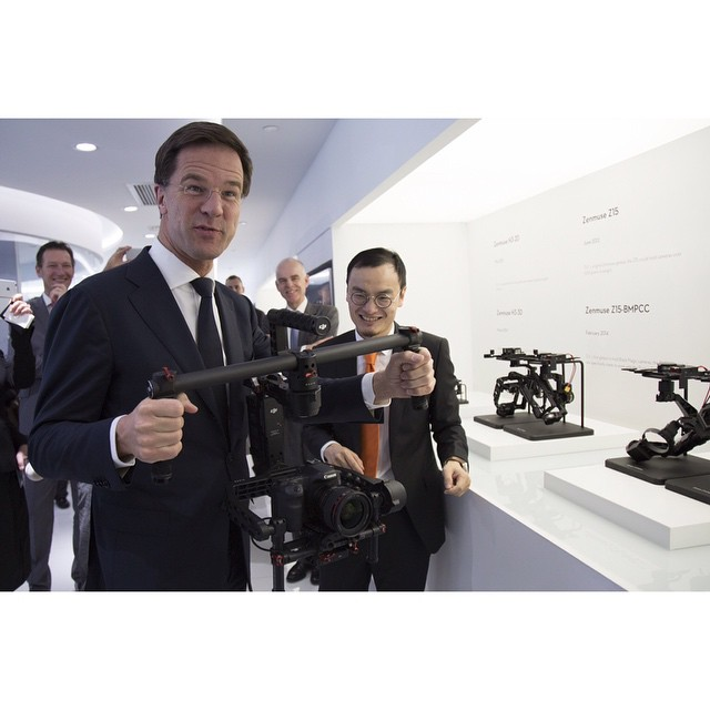 We inspire innovation.  Dutch Prime Minister, Mr. Mark Rutte, visits the #DJI HQ with CEO and founder Mr. Frank Wang helping to explain the technological innovation that is the #Ronin.  Do you think he can handle briefcase mode?