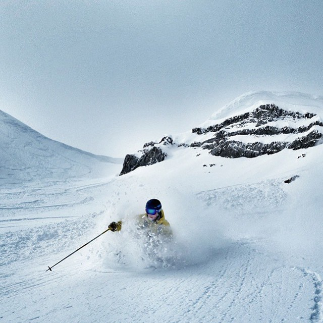 Flylow's @gitter_dunne back on the pow mission after a recent storm.