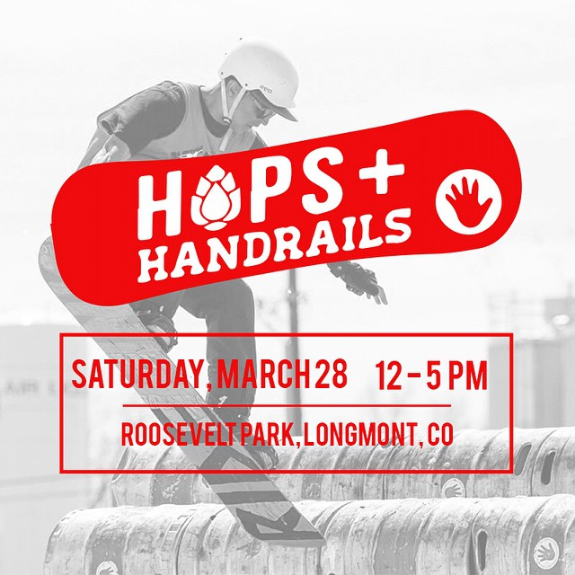 We're kicking off event season tomorrow with @lefthandbrewing at Hops & Handrails! Join us for a rail jam paired with craft beer in Longmont's Roosevelt Park from noon til 5!