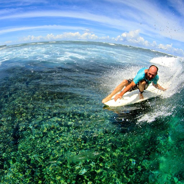 #HappyFriday folks! Let's all give a big high-five (we'll accept  a cheater-five as well) to the magic of coral reefs to produce the  most perfect, dazzling waves on the planet, whether it's 20 foot - or even just 2