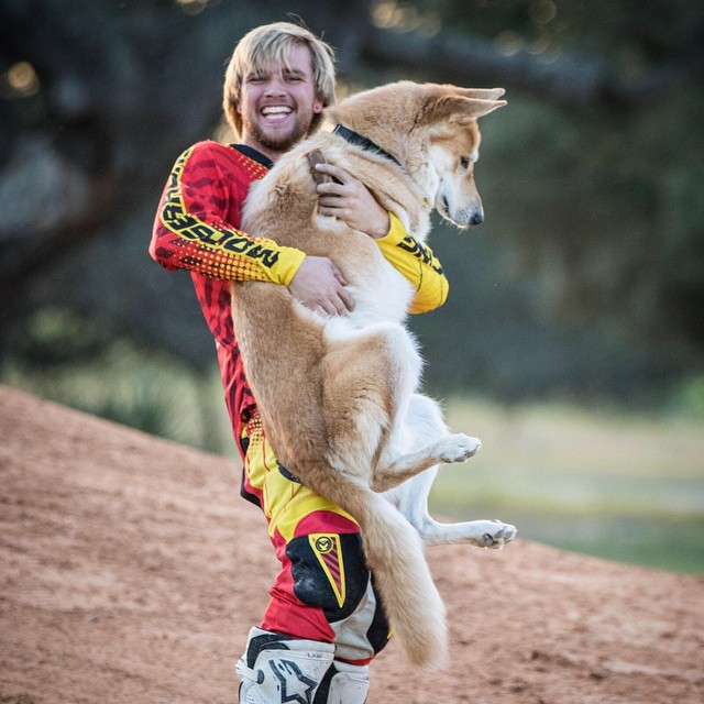 Me and @kawikablowie ... He's as big as me! #bestfriendsforever #pleaseputmedown #wolfieworld #wolfmotocrossacademy #wolf #wolfdog @officialmooseracing @whatthefett @barnettmxphotography #barnettmxphotography