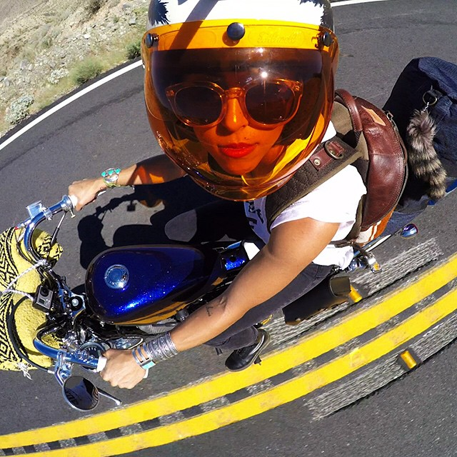 @Imaclabby rocking a gnarwhal to get the shot during @babesrideout. #GoPro #GoProGirl #Moto