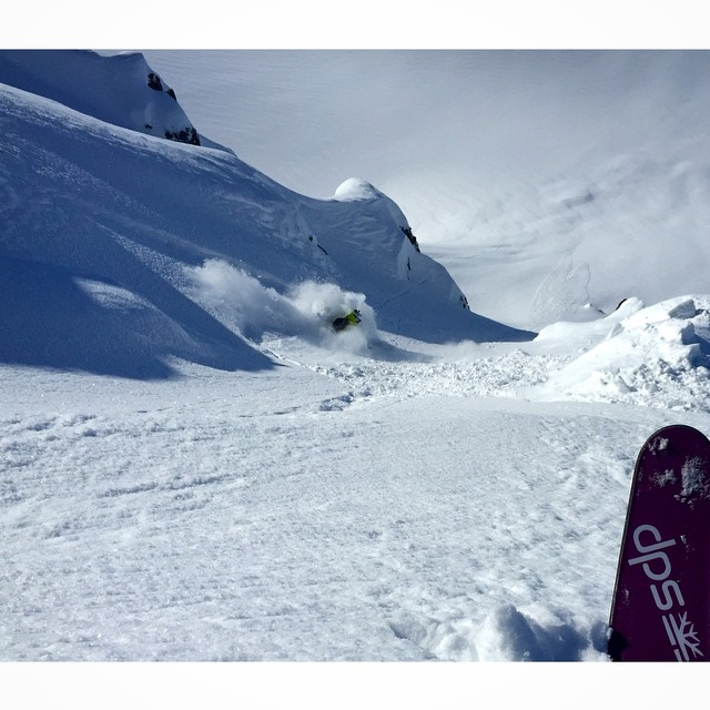 Dan Nordstrom, owner of @outdoorresearch getting the goods on his Lotus 138 Spoons while being guided by @michael.barney in Alaska. Surf's up boys! @seabaheli #dpsskis #powtime #powder #skiing