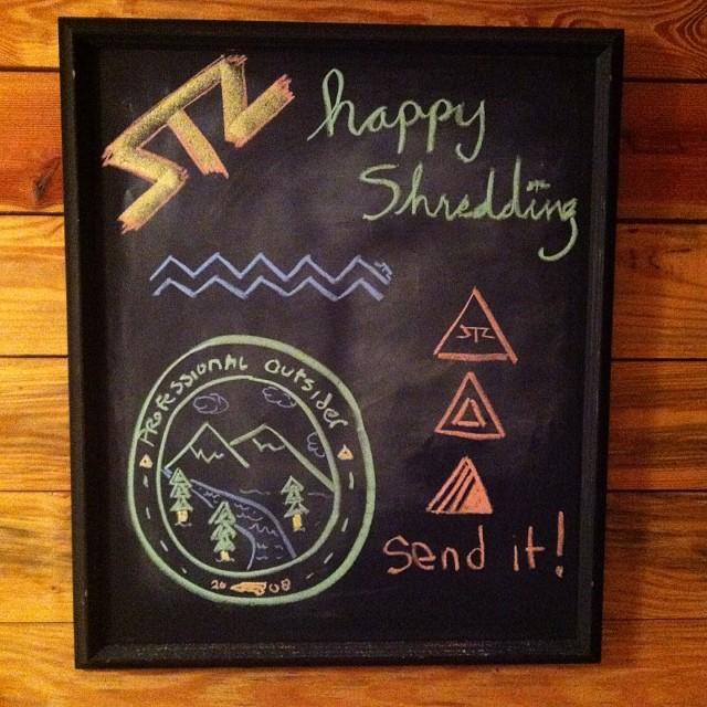 Cabin life // chalk art #stzlife #chalkart #sendit #happyshredding #professionaloutsider @dealmc @jlouvoo @hayleyleeanndrum