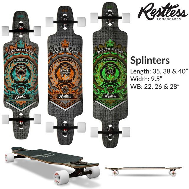 "Restless 2015 lineup leak #8: Splinter 2015. 9.5"" x 35, 38 & 40"" flex twin tip decks with fiberglass-wood sandwich, drop through and double kicks. Very good for beginners and fit long cruises. #restless2015leak"