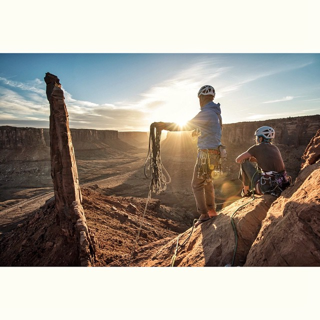 "Photo: @andy_mann // The end of another amazing day in desert after climbing the iconic ""Zeus"" looking back on ""Moses."" I'm so grateful for our protected playgrounds. @3stringsproductions"