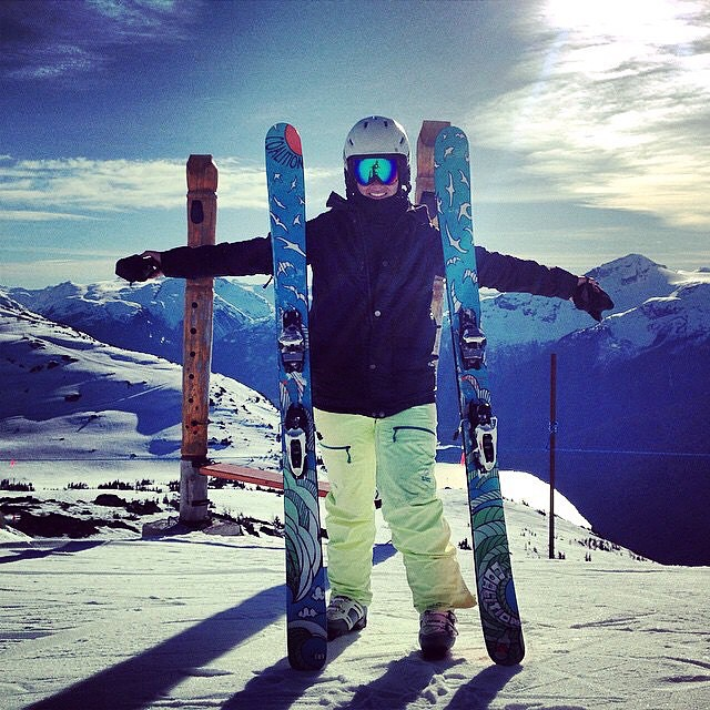 our girl Sarah Hopwood (@saz_hopwood) flaunting our SOS skis at @whistlerblackcomb! #sisterhoodofshred #coalitionsnow