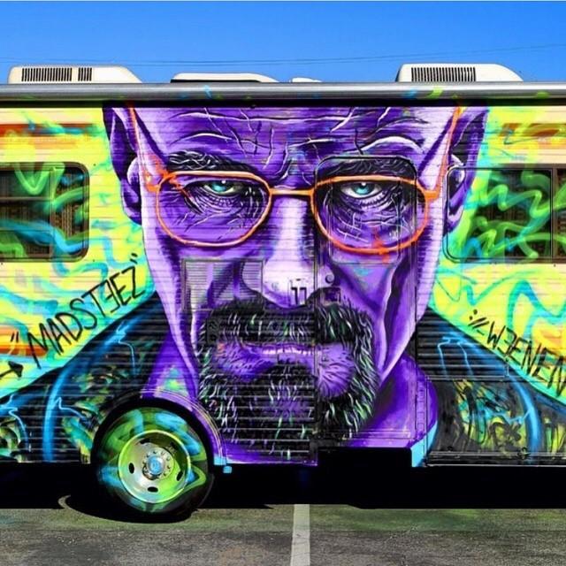 Heisenberg piece by @madsteez #heisenberg #walterwhite #breakingbad #dope #vanart #streetart