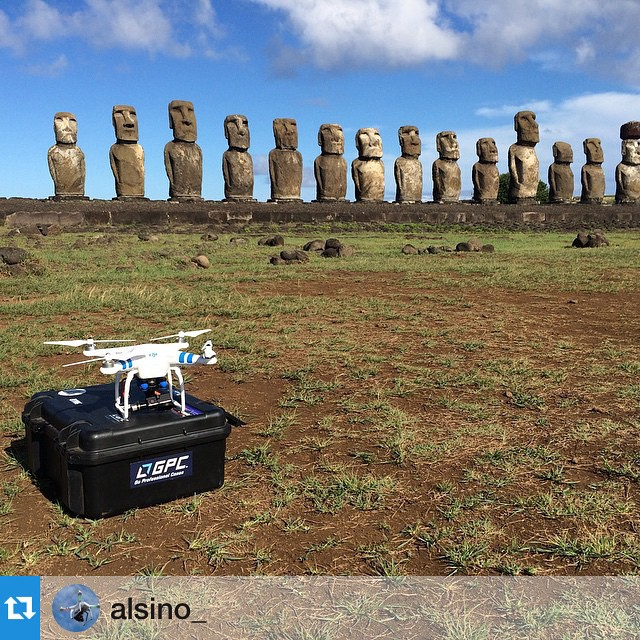 Imagine the #dronie with these guys!  Credit: @alsino_ #easterisland #igtravel #moai #DJI #DJICreator #DJIStory