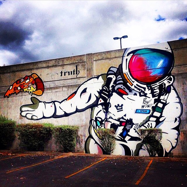 Spaced out pizza party | Work by @mikejohnstonartist | #staylifted #streetart #mural