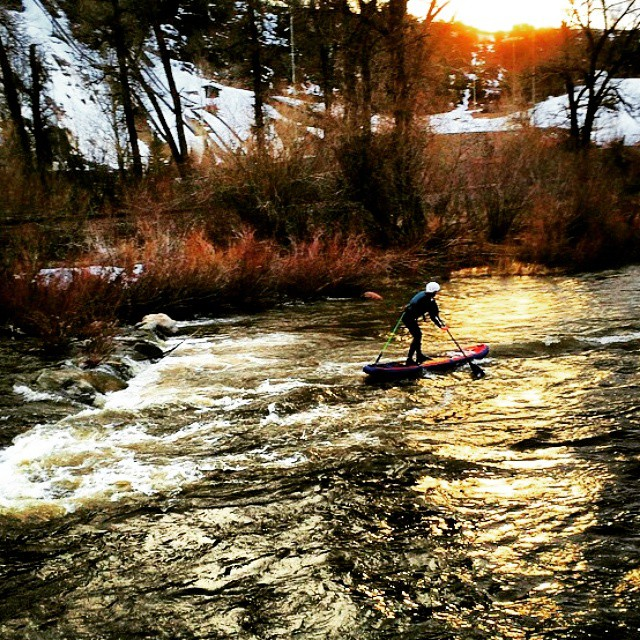 #Repost from @brookeabrenneman thanks for the tag! ・・・ Only in Colorado can you ski in the morning and SUP as the sun sets. #SUPtheYampa @steamboatresort #sup #paddling #sunset #standuppaddle #weloverivers #theweeklyinsta #whitewatersup #halagear...