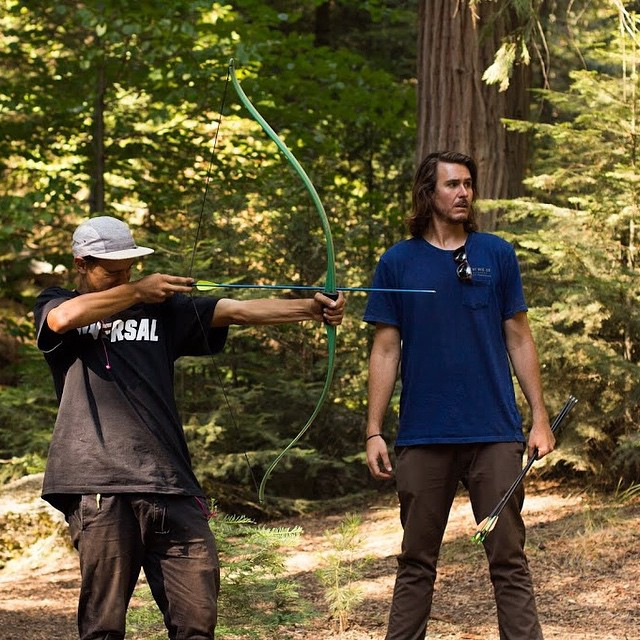 @elementalawareness instructor Todd Larson (@roadtripper00) teaching @elementmakeitcount finalist Andrew Verde how to shoot bow and arrow at @elementskatecamp last Summer #skatecampvibes #elementalawareness #elementskatecamp