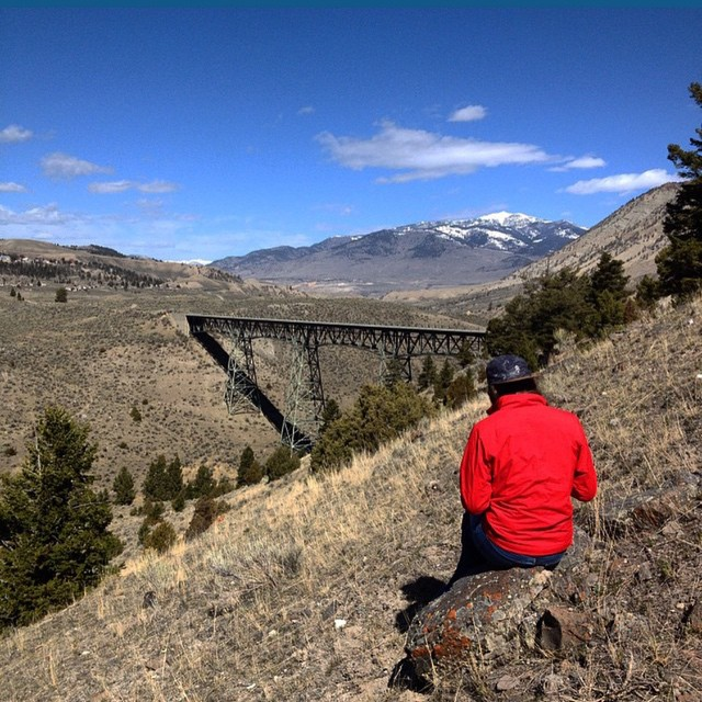 @peripatetic_me rocking out Topo Camp Hat looking out over Yellowstone's High Bridge by @jdpnt