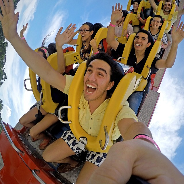 Roller coaster selfie at Xetulul Theme Park in Guatemala. Photo: @goveralls #gopro #gopole #grenadegrip #rollercoaster