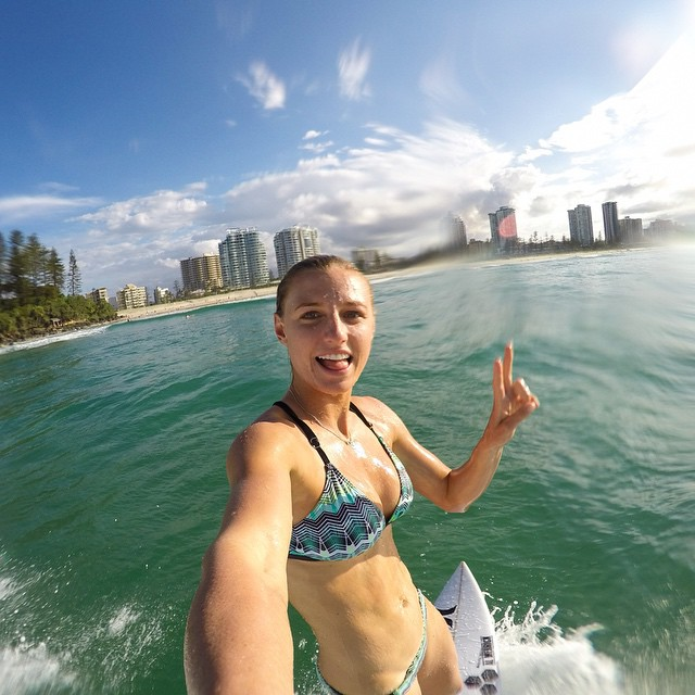 The waves this session were pretty small and funky, but still managed to have a blast. As you can see I was very stoked about taking this selfie mid wave. #GoPro #GoProGirl #Surf