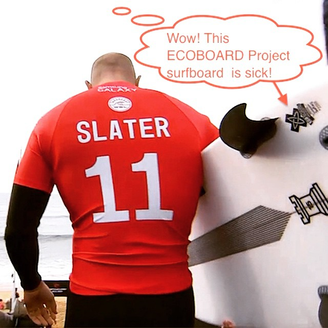 Not sure if those were his actual deep thoughts at that moment – but it was probably something like that :) So stoked to finally see the 11X World Champ @kellyslater ride his first ‪#‎ECOBOARDProject‬ labeled surfboard in the @wsl historic Bells Beach...