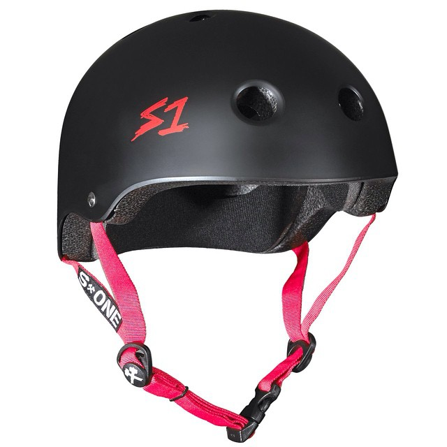S1 Lifer Helmet Color: Black Matte w/ Red Straps is back in stock . Deep fit + Certified Protection = S1 Lifer Helmet . Ask for them at your local shop . #skatehelmet #skateboarding #havefun #sk84life #lifer #liferhelmet #s1helmets #brainbucket...