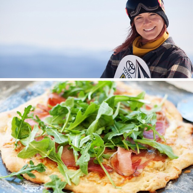 Arugula + Prosciutto Pizza with a crust made from cauliflower?! You've never seen #pizza like this before, thanks to #TeamB4BC rider @elenahight putting a healthy spin on @thekellyclark's favorite.  Because who doesn't love pizza?  Recipe on @twsnow:...