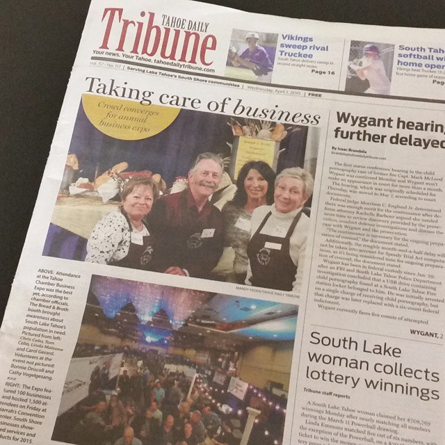 Got some love on the front page of the Tahoe Tribune thanks to @dronepromotions from the Business Expo!  Bottom picture on the left is our booth.  #bizexpo15 #laketahoe #tahoetribune #drones #graniterocx