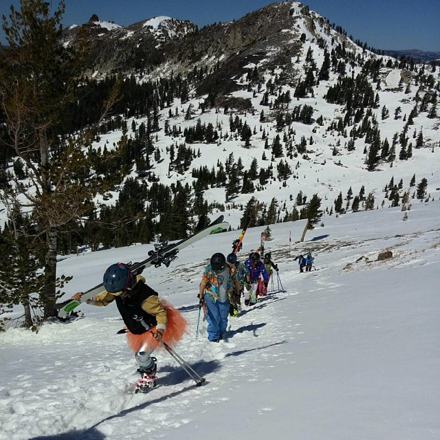 Next year's #bliss demo ski is featured here on the mainline #bootpack at #squawvalley. Expect great things from these sticks, they're #awesome. #sisterhoodofshred #earnyourturns #springskiingcapital