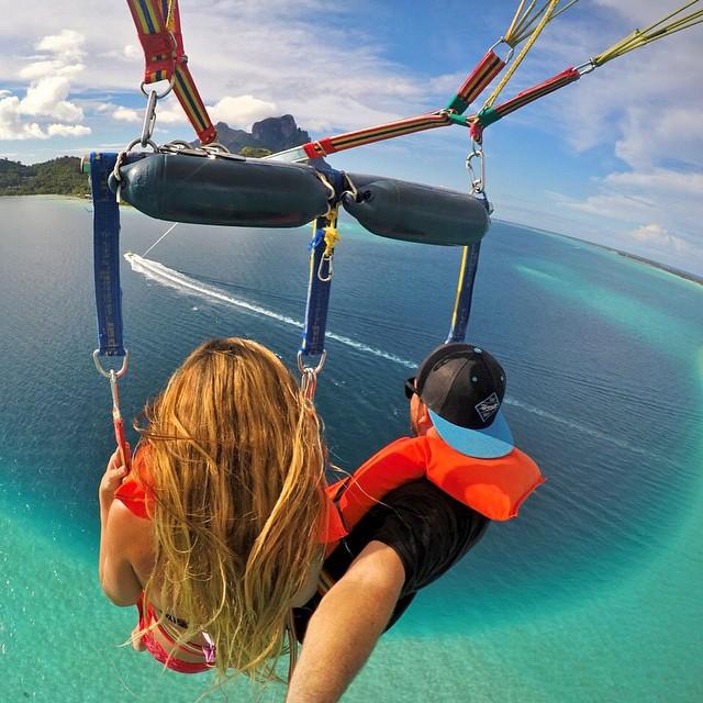 @jessonvedel parasailing above the turquoise blue lagoon of Bora Bora. #gopro #gopole #gopoleevo #parasailing #borabora