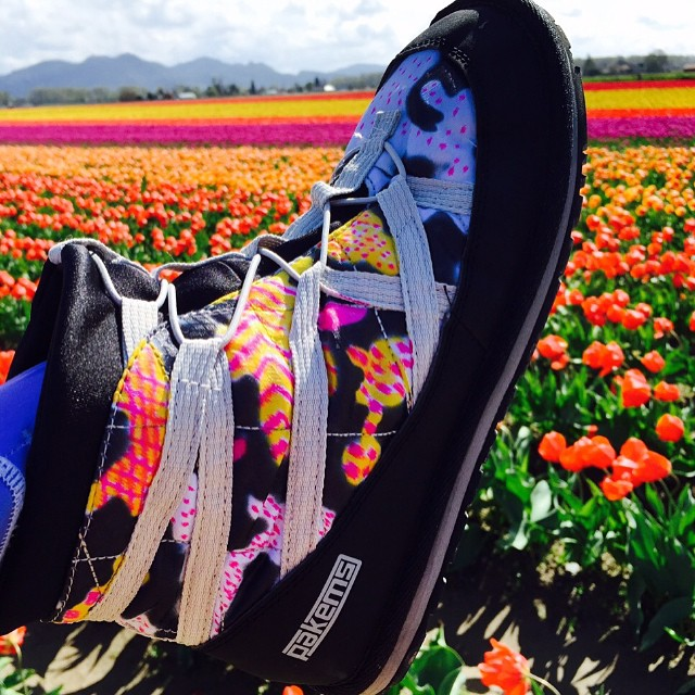 "Tiptoeing through the Tulips in Seattle. Great job coloring your ""Bodie"" boots Nancy!! #bodie #pakems #coloryourownshoe #seattle"