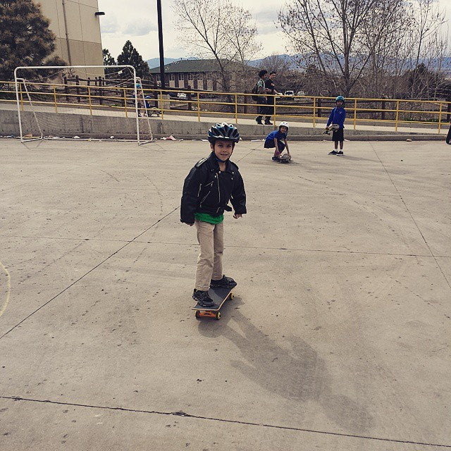 Hey Patrick, can I wear my sweet leather biker jacket to skateboard? Of course you can. #midnightrider #skateboarding