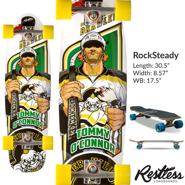 "Restless 2015 lineup leak #9: Rocksteady 2015 ""Brawlers"". 8.75 x 30.5"" deck with a 17.5"" wheelbase and 3D concave. Awesome city cruiser! #restless2015leak"