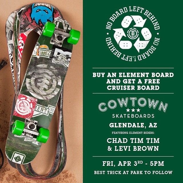 Tomorrow! #NOBOARDLEFTBEHIND at @cowtownskate, come hang and have your old board cut out into a new cruiser by @_levibrown, @7im7im, and @donnybarley
