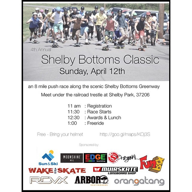 If your in the @Nashville area next weekend hit up the #shelbybottomsclassic #pushrace sponsored by a bunch of #rad #dudes #longboarding #longboard #skatelife #skateboarding #push #freeride #concretewave #getbuck #love