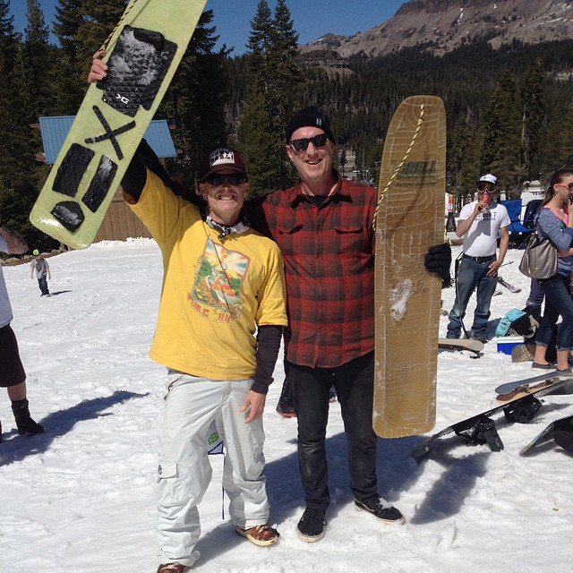 Hanging with #ScottDowney (he once had a pro model Sorel boot) at #LegendsOfSnowboarding2015  riding #JeffGrells (he invented the highback) binding less hand made boards - #somuchfun #forridersbyriders