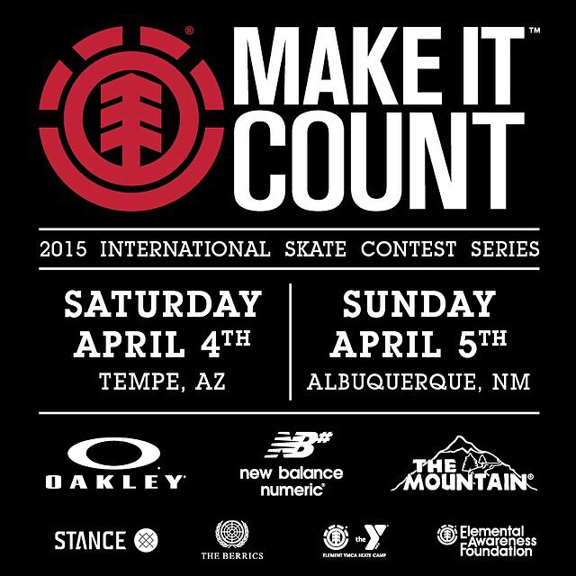TOMORROW! We're kicking off the 2015 @elementmakeitcount international contest series with an event at Tempe park in AZ Saturday, followed by an event at Alamosa park in Albuquerque, NM. Come out and compete for the experience of a lifetime, and a shot...