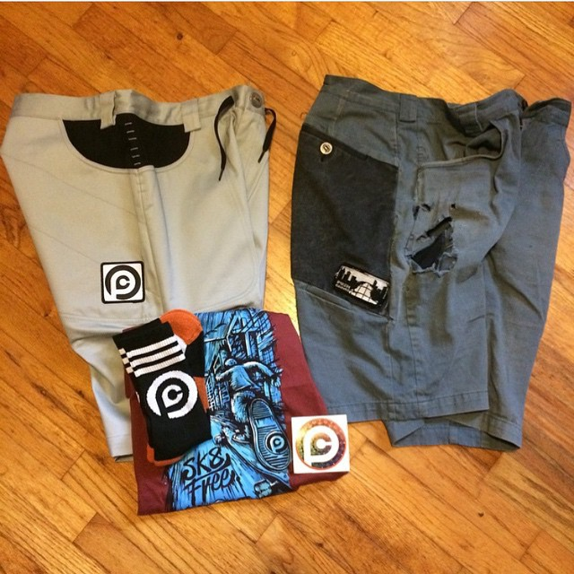 Regram Robskey @eastsidelongboards his old pair of V1 crash shorts that lasted since 2011 and the new v3. #pushcultureapparel #crashpants #yougetwhatyoupayfor