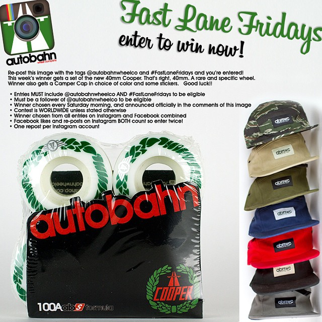 Re-post this image with the tags @autobahnwheelco and #FastLaneFridays and you're entered! This week's winner gets a set of the new 40mm Cooper. That's right, 40mm. A rare and specific wheel. Winner also gets a Camper Cap in choice of color and some...