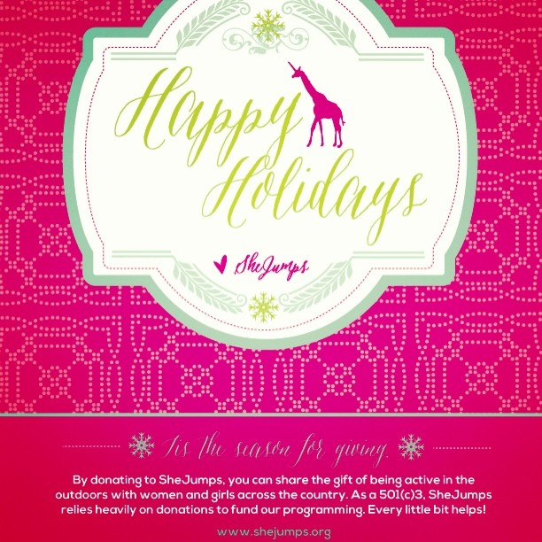 Happy holidays!! Please help us continue to grow our programming and #outreach into 2014 with a donation this holiday season. You can find the donation link in our profile or on shejumps.org. #giveback #givethanks #gratitude #holidays #girafficornmagic