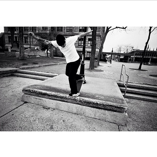@tryfelyf Locked and loaded backside  blunt slide at City Hall in Lowell, Ma.  Photo: @thankscamera  #loafed
