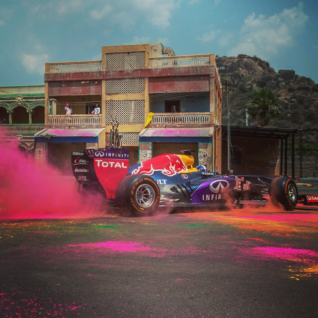 Ready to run? The @redbullracing #F1 showcase before the live event in Hyderabad, India. #davidcoulthard @inredbull