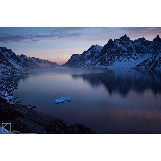 Crushing hard on pastel-painted peaks in #Greenland this ‪#MountainCrushMonday‬. Photo by Kt Miller (@ktmillerphoto)  #mountains #sailski #exploremore #shiftingice #fjord