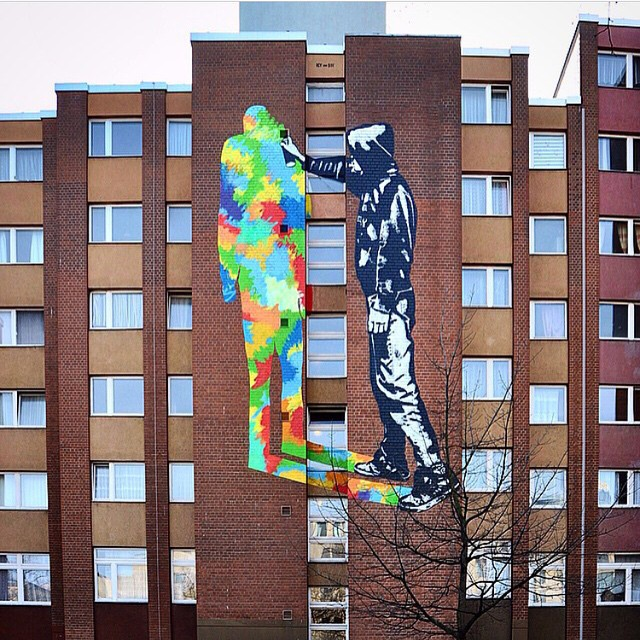 Shadow Paintin' | Work by @icyandsot in Berlin, Germany | #urbannation #shadow #streetart